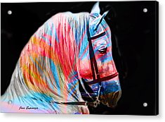 Acrylic Print featuring the painting Abstract White Horse 19 by J- J- Espinoza