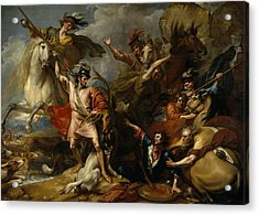 Alexander IIi Of Scotland Rescued From The Fury Of A Stag By The Intrepidity Of Colin Fitzgerald  Acrylic Print by Benjamin West