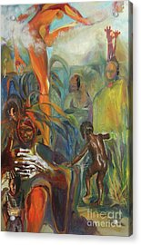 Acrylic Print featuring the mixed media Ancestor Dance by Daun Soden-Greene