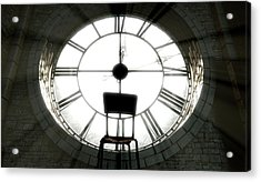 Antique Backlit Clock And Empty Chair Acrylic Print