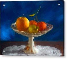 Acrylic Print featuring the photograph Apple, Lemon And Mandarins. Valencia. Spain by Juan Carlos Ferro Duque