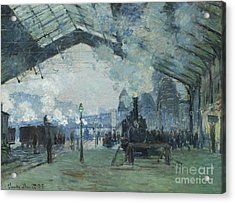 Arrival Of The Normandy Train Gare Saint-lazare Acrylic Print by Claude Monet