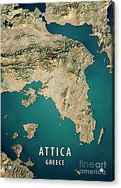 Attica Greece 3d Render Satellite View Topographic Map Acrylic Print