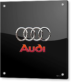 Audi - 3 D Badge On Black Acrylic Print by Serge Averbukh