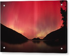Aurora Borealis Over Jordan Pond Acrylic Print by Michael Melford