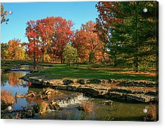 Autumn At The Deer Lake Creek Riffles In Forest Park St Louis Missouri Acrylic Print by Garry McMichael