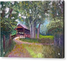 Avon Covered Bridge Acrylic Print by Stan Hamilton