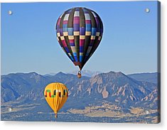 2 Balloons Flying Over The Flatirons Acrylic Print by Scott Mahon