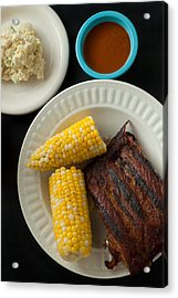 Barbecue Pork Spare Ribs With Corn And Potato Salad Acrylic Print