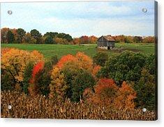 Acrylic Print featuring the photograph Barn On Autumn Hillside by Angela Rath