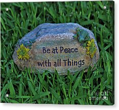 Acrylic Print featuring the photograph 2- Be At Peace by Joseph Keane