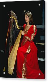 Beautiful Harp Player Acrylic Print by Carl Purcell