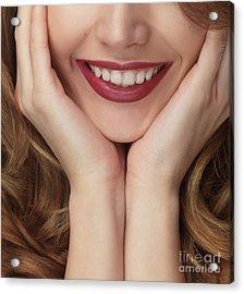 Beautiful Young Smiling Woman Acrylic Print by Oleksiy Maksymenko