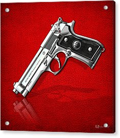 Beretta 92fs Inox Over Red Leather  Acrylic Print