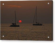 Boats In The Sunset Acrylic Print by Joana Kruse