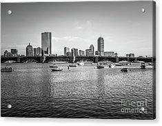 Boston Skyline Black And White Photo Acrylic Print