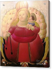 Botero Woman And Child Acrylic Print by Ted Pollard