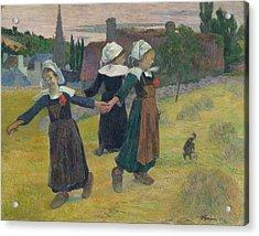 Breton Girls Dancing Acrylic Print by Paul Gauguin