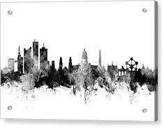 Brussels Belgium Skyline Acrylic Print by Michael Tompsett