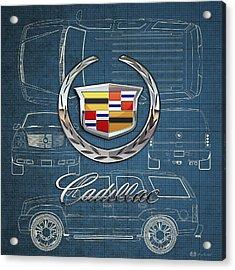 Cadillac 3 D Badge Over Cadillac Escalade Blueprint  Acrylic Print