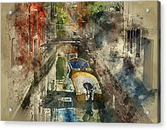Canals Of Venice Digital Watercolor On Photograph Acrylic Print