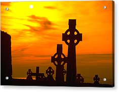 Celtic Crosses In Sunset Acrylic Print by Carl Purcell