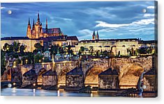 Acrylic Print featuring the photograph Charles Bridge And Prague Castle / Prague by Barry O Carroll