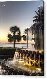 Charleston Pineapple Fountain Sunrise Acrylic Print