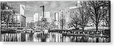 Charlotte Skyline Black And White Panorama Photo Acrylic Print by Paul Velgos