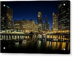 Chicago River And Skyline At Dawn Acrylic Print