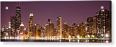 Chicago Skyline At Night Photo Acrylic Print