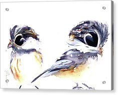 Acrylic Print featuring the painting 2 Chickadees by Dawn Derman