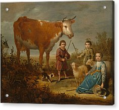 Children And A Cow Acrylic Print