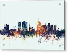 Christchurch New Zealand Skyline Acrylic Print by Michael Tompsett