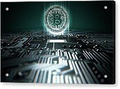 Circuit Board Projecting Bitcoin Acrylic Print