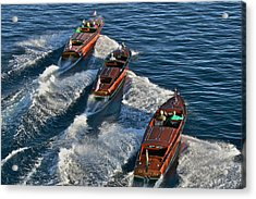 Classic Chris Craft Runabouts Acrylic Print by Steven Lapkin