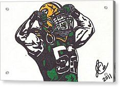 Acrylic Print featuring the drawing Clay Matthews 2 by Jeremiah Colley