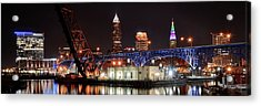 Cleveland Panorama Acrylic Print by Frozen in Time Fine Art Photography