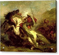 Acrylic Print featuring the painting Collision Of Moorish Horsemen by Eugene Delacroix