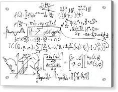 Complex Math Formulas On Whiteboard. Mathematics And Science With Economics Acrylic Print by Michal Bednarek