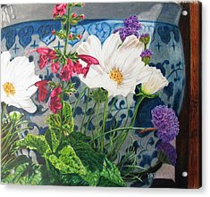 Acrylic Print featuring the painting Cosmos by Karen Ilari