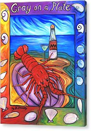 Acrylic Print featuring the painting Cray On A Plate by Dianne  Connolly