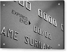 Credit Card Closeup Acrylic Print by Allan Swart
