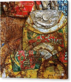 Crushed Beer Cans. Acrylic Print by Bernard Jaubert