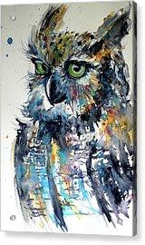 Acrylic Print featuring the painting Cute Owl by Kovacs Anna Brigitta
