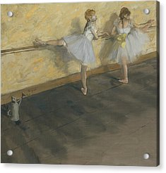 Dancers Practicing At The Bar Acrylic Print by Edgar Degas