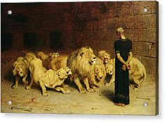 Daniel In The Lion's Den Acrylic Print by Briton Riviere