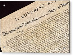 Declaration Of Independence Acrylic Print by Jack R Perry