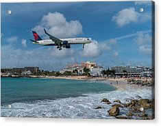 Delta Air Lines Landing At St. Maarten Acrylic Print by David Gleeson