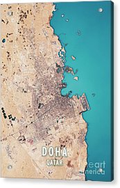 Doha 3d Render Satellite View Topographic Map Acrylic Print